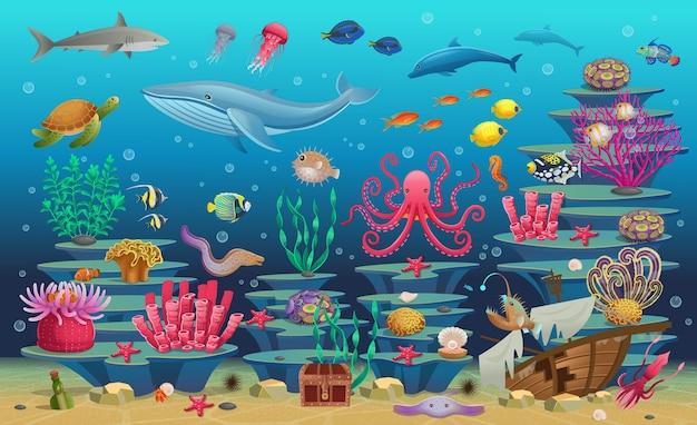 Grande insieme di barriera corallina con alghe pesci tropicali, una balena, un polpo, una tartaruga, una medusa, uno squalo, una rana pescatrice, un cavalluccio marino, un calamaro e coralli. illustrazione . Vettore Premium