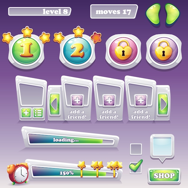 Grande insieme di elementi per giochi per computer e web design Vettore Premium