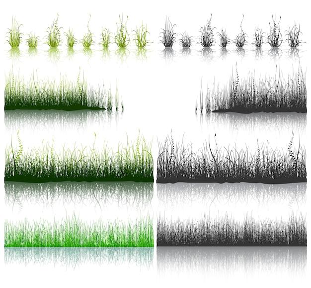 Grande insieme di erba verde e nera isolato su priorità bassa bianca. Vettore Premium