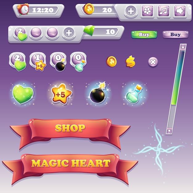 Grande insieme di elementi di interfaccia per giochi per computer e web design Vettore Premium
