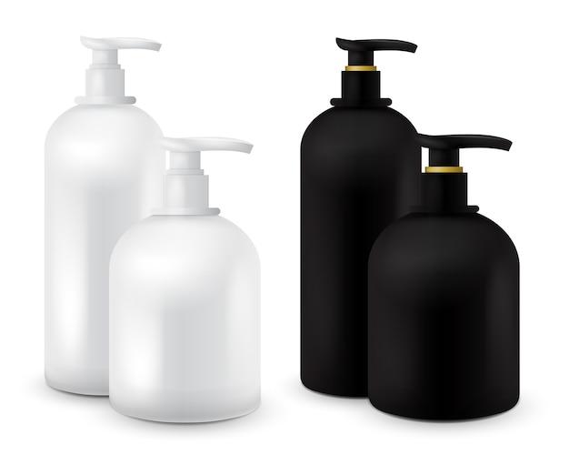 Grande set di vaso con sapone liquido per il tuo logo e design è facile da cambiare i colori. realistico contenitore cosmetico in bianco e nero per crema di sapone, lozione. mock up bottiglia. Vettore Premium
