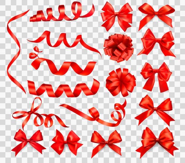Grande set di fiocchi regalo rosso con nastri. illustrazione. Vettore Premium