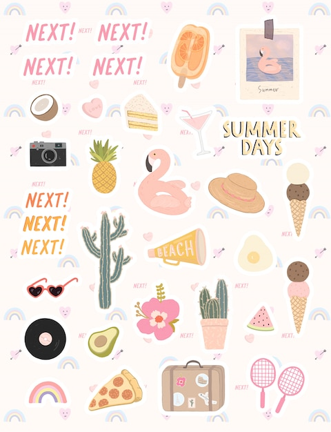 Grande set di elementi alla moda su un tema dell'ora legale. elementi disegnati a mano per vacanze estive e festa. Vettore Premium