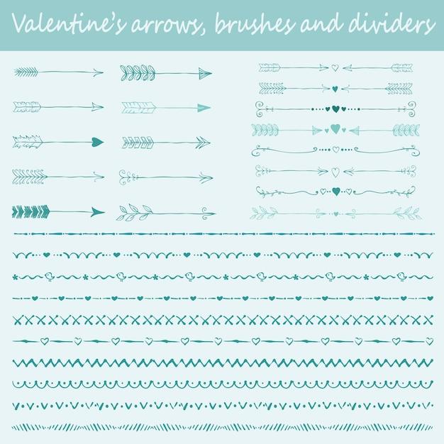 Grande set di pennelli disegnati a mano di san valentino, frecce e divisori di testo per la progettazione di biglietti di auguri Vettore Premium