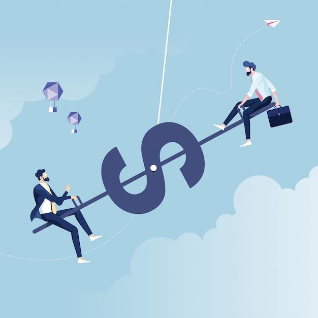 Equilibrio tra grandi e piccole imprese Vettore Premium