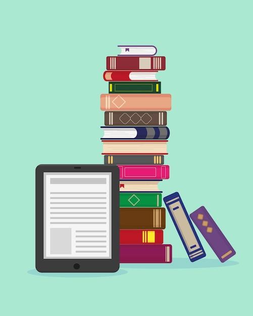 Grande pila di libri ed ebook su sfondo blu Vettore Premium