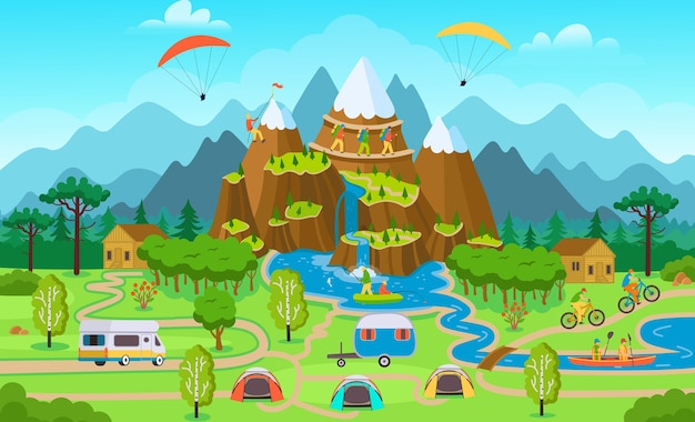 Grande mappa turistica con attività forestali estive, tende, furgone turistico, ciclisti, uno scalatore, persone in kayak, pescatori. Vettore Premium