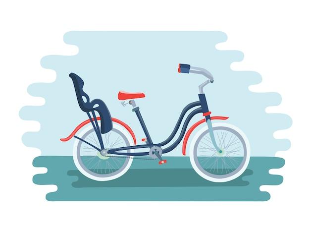 Bici con illustrazione di seggiolino per bambini Vettore Premium
