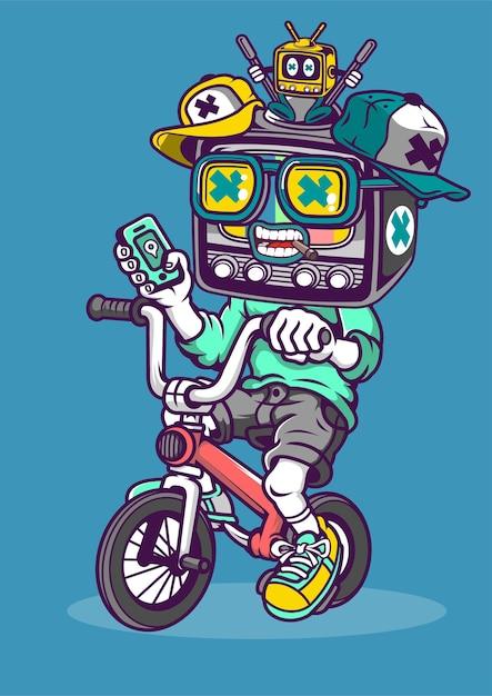 Illustrazione disegnata a mano di biker tv Vettore Premium
