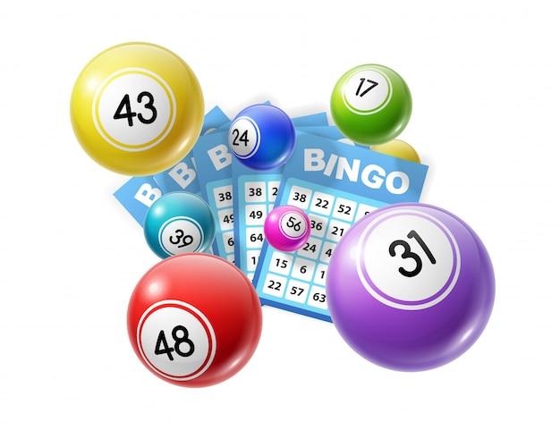 Numeri fortunati delle palle della lotteria di bingo e delle carte del lotto Vettore Premium