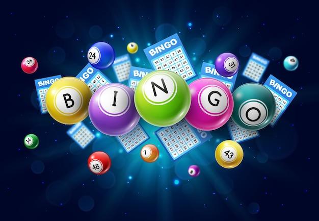 Bingo lotto palle di gioco e carte della lotteria con numeri fortunati Vettore Premium