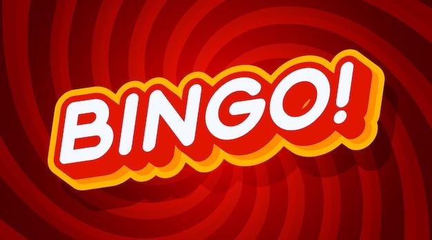 Modello di effetto di testo rosso e giallo di bingo con stile di tipo 3d Vettore Premium
