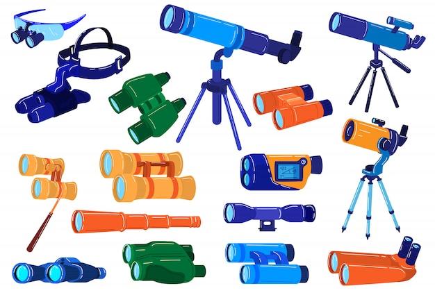 Illustrazioni binoculari di apparecchiature ottiche, ricerca di cartoni animati, esplorazione e zoom con set di telescopi, binocoli, cannocchiale Vettore Premium