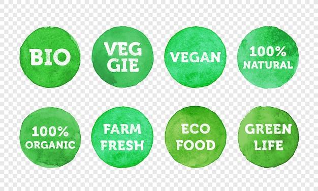 Set di icone di bio, verdura, fattoria fresca, vegana, 100 prodotti biologici e locali. Vettore Premium