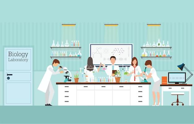 Interno del laboratorio di scienze biologiche Vettore Premium