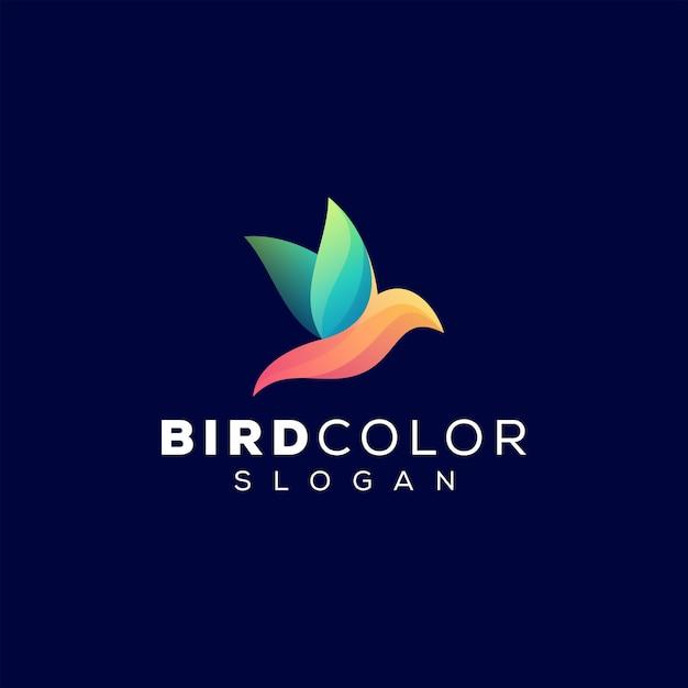 Design del logo sfumato di colore dell'uccello Vettore Premium