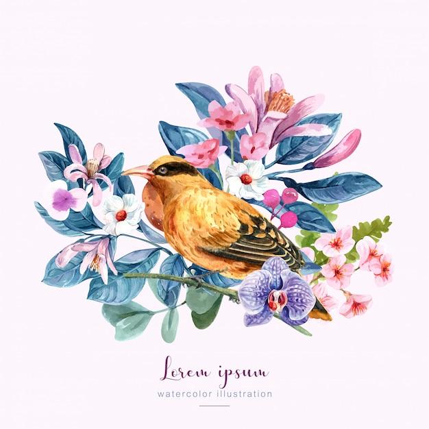 Uccello con fiori illustrazione Vettore Premium