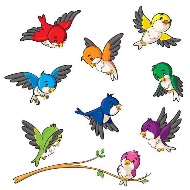 Cartone animato di uccelli Vettore Premium