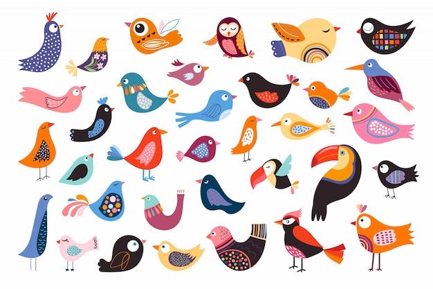 Raccolta degli uccelli con differenti elementi decorativi astratti, isolati su bianco Vettore Premium