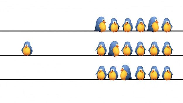 Uccelli sul filo Vettore Premium