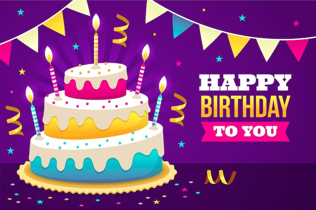 Sfondo di compleanno con deliziosa torta Vettore Premium