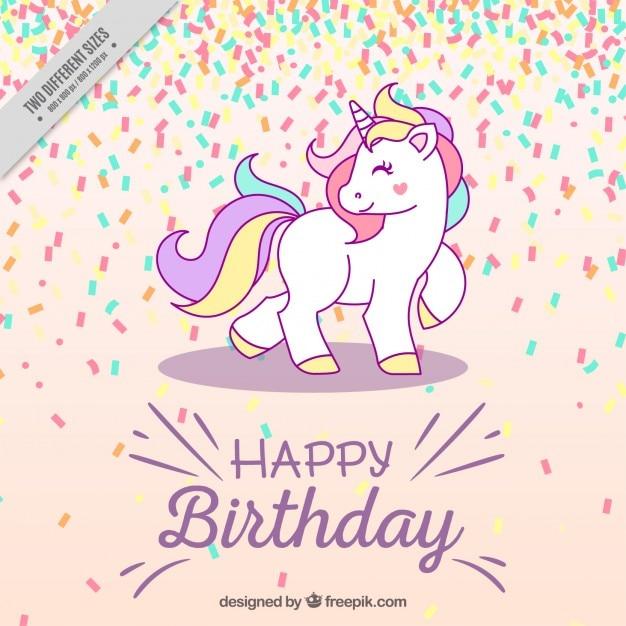 Sfondo di compleanno con unicorno Vettore Premium