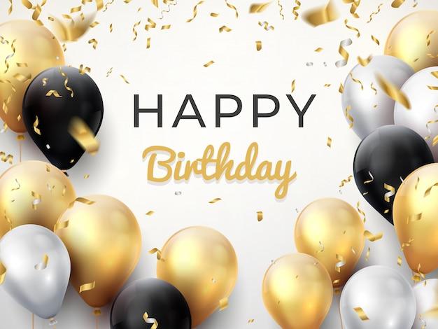 Compleanno palloncino sullo sfondo. scheda di celebrazione di anniversario dorato, cartolina d'auguri di decorazione splendente. Vettore Premium