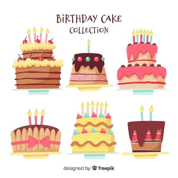 Collezione di torta di compleanno Vettore Premium