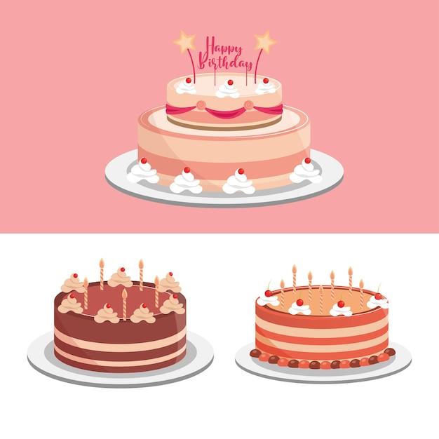 Torte di compleanno festa celebrazione festosa illustrazione Vettore Premium