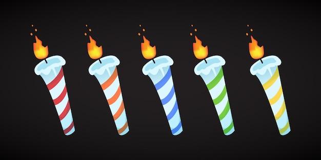 Set di candele di compleanno Vettore Premium