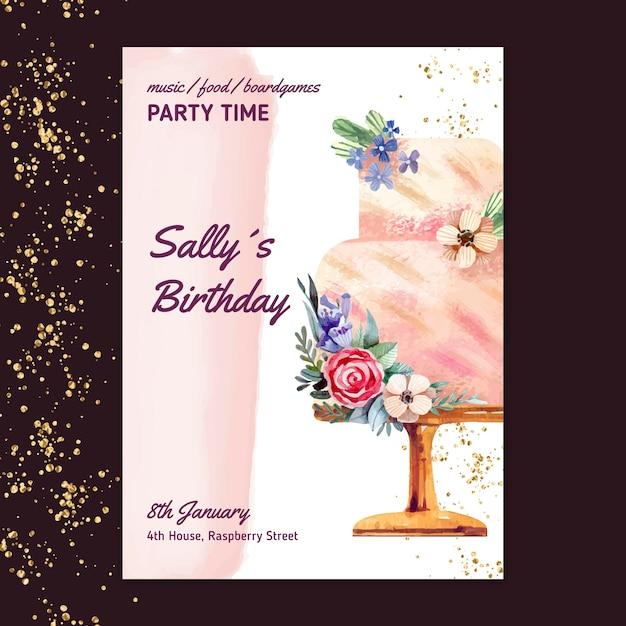 Modello di carta di compleanno Vettore Premium