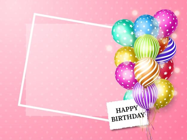Carta di compleanno con palloncini colorati Vettore Premium