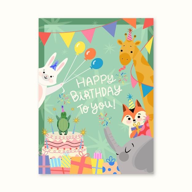 Carta di compleanno con simpatici animali Vettore Premium