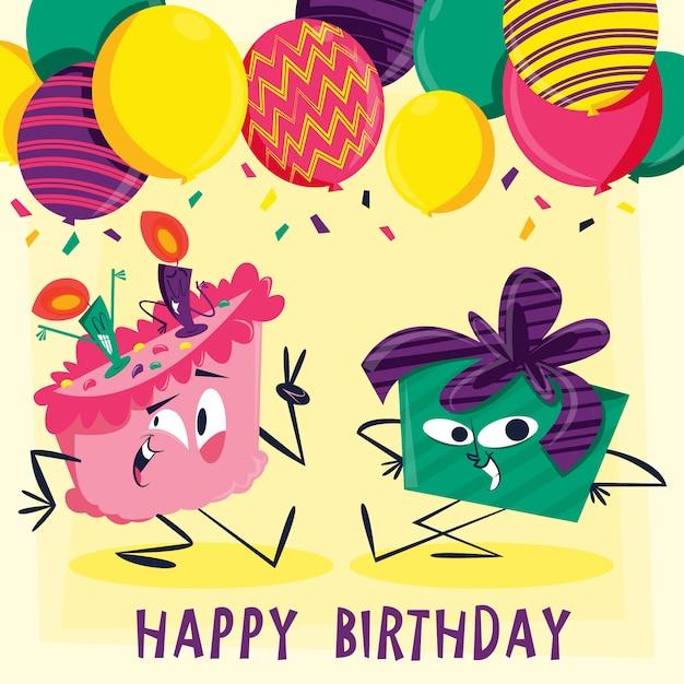 Scheda di compleanno con personaggi divertenti illustrati Vettore Premium