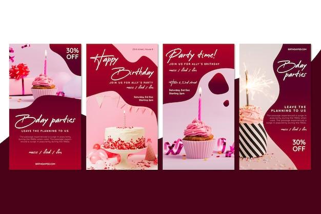 Storie di instagram di compleanno Vettore Premium
