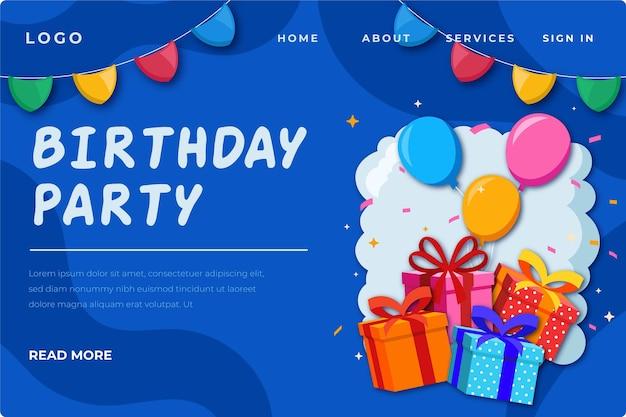 Modello di pagina di destinazione di compleanno con illustrazioni Vettore Premium