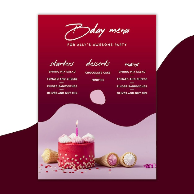 Modello di menu di compleanno con torte Vettore Premium