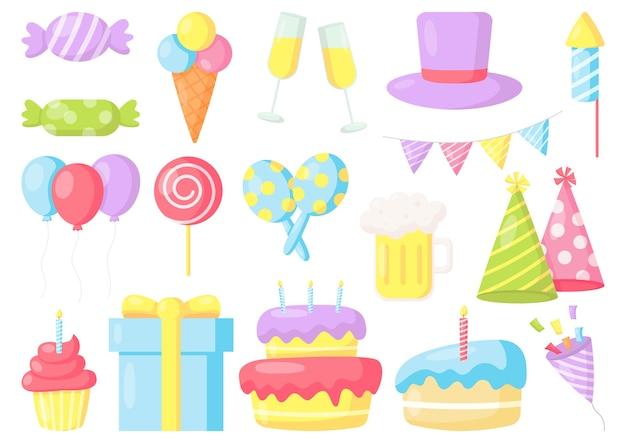 Festa di compleanno celebrazione carnevale elementi festivi isolati su sfondo bianco Vettore Premium