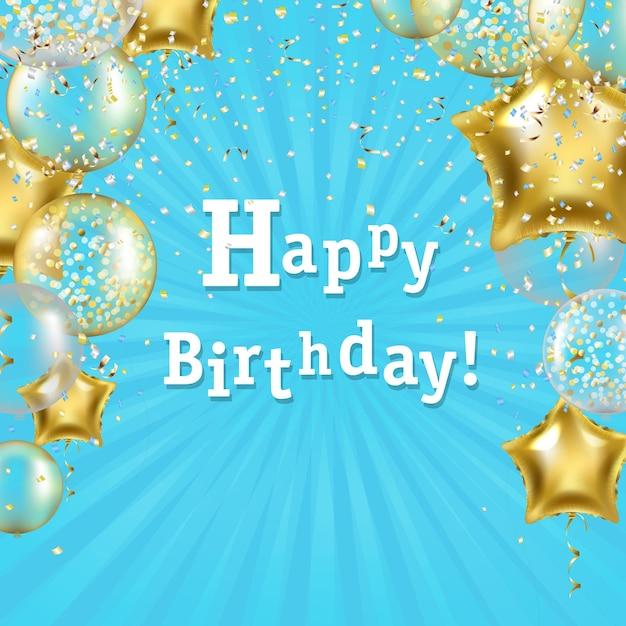 Poster di compleanno con illustrazione di palloncini stella d'oro Vettore Premium