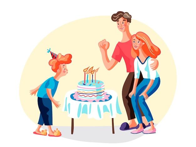Compleanno con l'illustrazione dei genitori, madre sorridente, padre e figlioletto personaggi dei cartoni animati, bambino con cappello festivo che soffia candele sulla torta, bambino che esprime desiderio, famiglia che celebra il b-day Vettore Premium