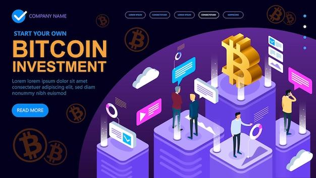 Concetto isometrico di criptovaluta bitcoin, banner di concetto isometrico, concetto isometrico di marketing e finanza Vettore Premium