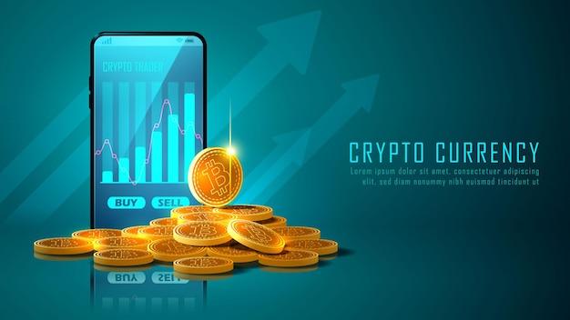 Criptovaluta bitcoin con un mucchio di monete e smartphone Vettore Premium