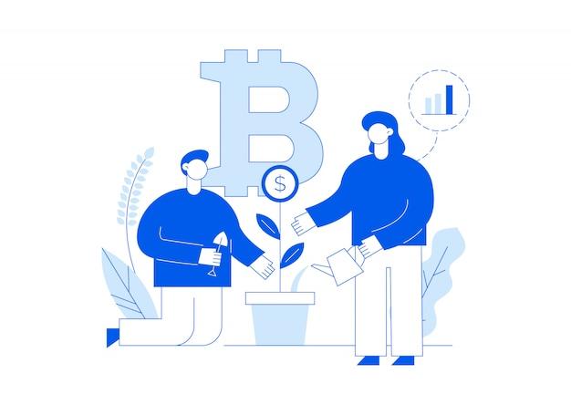 Pagina di destinazione moderna linea piatta di investimento bitcoin con grandi persone alla moda. Vettore Premium