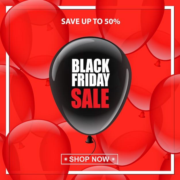 Palloncino nero con testo di vendita del venerdì nero su sfondo di palloncini rossi Vettore Premium