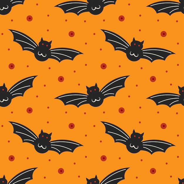 Pipistrelli neri. modello senza cuciture felice di halloween Vettore Premium