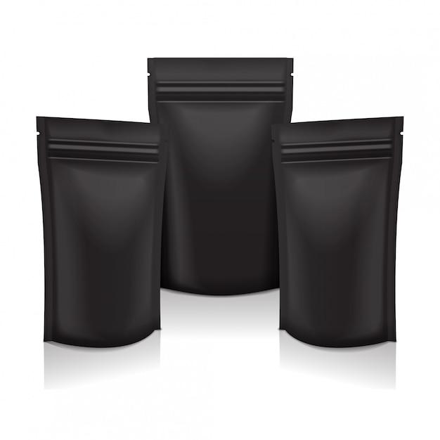 Sacchetto di busta in sacchetto nero per alimenti o cosmetici in confezione nera con cerniera. Vettore Premium