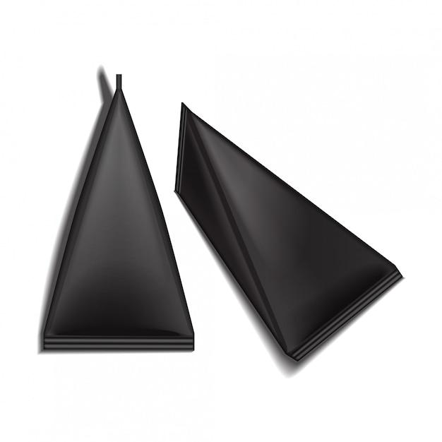 Set di scatole di pacchetti triangolari vuoti neri confezione di succo o latte. Vettore Premium
