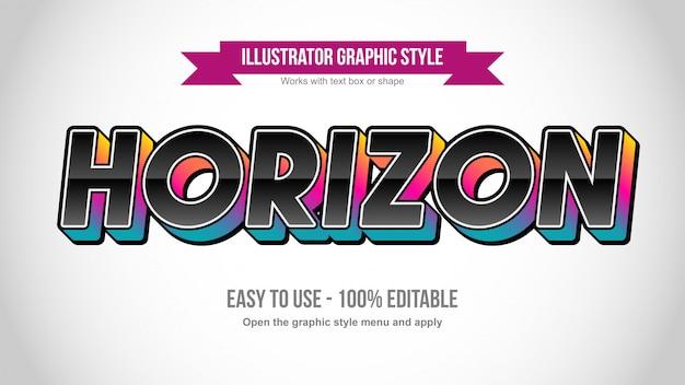 Effetto di testo modificabile in grassetto 3d nero con texture colorate Vettore Premium