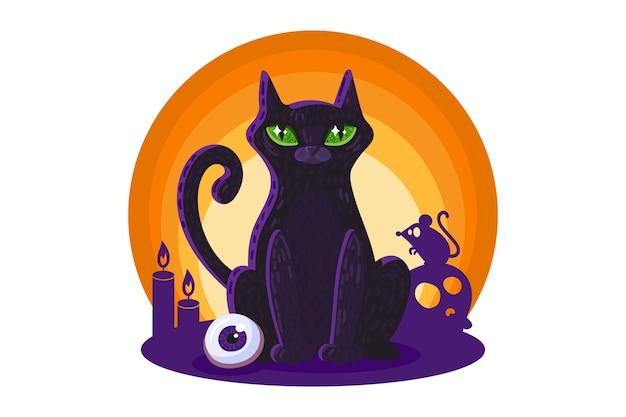 Gatto nero per elemento di disegno di carta o poster di halloween. Vettore Premium