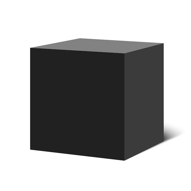 Cubo nero. scatola quadrata. illustrazione. Vettore Premium